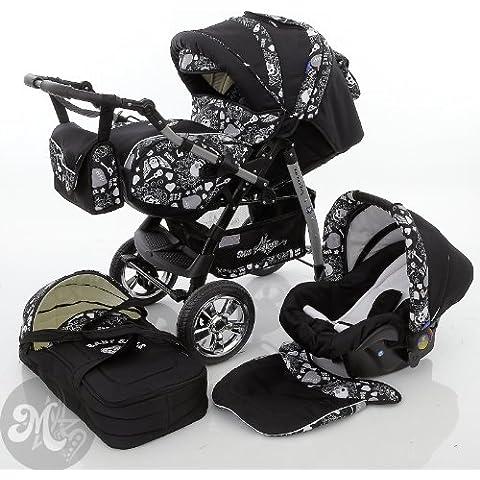 Milk Rock Baby Star Cruiser 3 in 1 carrozzina passeggino combinato (con seggiolino, parapioggia, zanzariera, 30 colori) - Cruiser Cintura Di Sicurezza