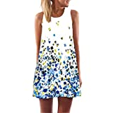 MRULIC Damen Lovely Mini Floral Printing A-Linie Kleider Beach Dress Vintage Boho Frauen Sommer Ärmelloses Party Kleide(Q-Blau,EU-42/CN-L)