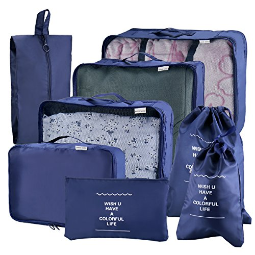 Joyoldelf Juego de 8 bolsitas de viaje esenciales para bolsas de viaje, organizador de bolsas de equipaje para maleta actualizado