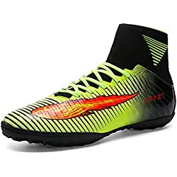 ASHION Botas de fútbol para hombre Botas de microfibra Adolescentes y adultos Profesión Atletismo Turf (43, Verde)