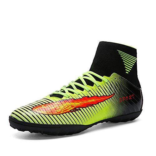 ASHION Männer sind schwarz lila hohe Knöchel Rasensohle Innen Stollen Fußballschuhe Schuhe Fußballschuhe (40, Grün)