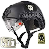 Combat SWAT Tactical Army tipo MH estilo militar casco Fast (L/XL) para Paintball Airsoft caza de lluvia de estrellas Gear w/gafas para la nieve Negro