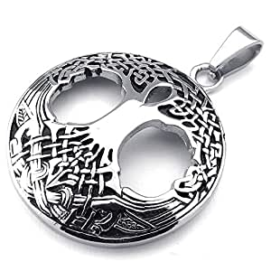Konov Jewellery Mens Womens Celtic Tree of Life Stainless Steel Pendant Necklace, Colour Black Silver - 18 inch Chain(with Gift Bag)