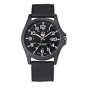 DOLDOA Mens Calendar Date Canvas Strap Military Analog Quartz Outdoor Sports Wrist Watches,Sale on Clearance