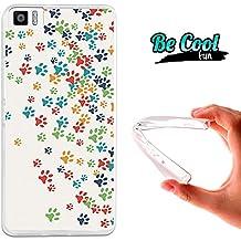 Becool® Fun - Funda Gel Flexible para Bq Aquaris M4.5 .Carcasa TPU fabricada con la mejor Silicona, protege y se adapta a la perfección a tu Smartphone y con nuestro diseño exclusivo Huellas coloridas de Perro