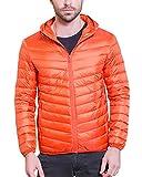 Herren Daunenjacke klassische Mit Kapuze Packbar Ultra Leicht Gewicht Mantel Daunenmantel Orange M