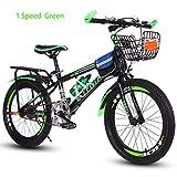 Bike Kinderfahrräder Mountainbikes Kid, Scheibenbremsen,18,20 Zoll,Unterschiedliche Geschwindigkeit,Rot, Blau, Grün,Green1speed,18In