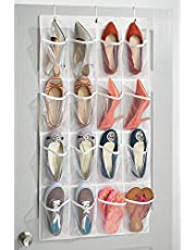 InterDesign Non-Woven Fabric Hanging Over Door Shoe Storage Organizer for Closet - Multiple Compartments Organiser for Underwear, Socks, Toy, Key, Slipper - White, Clear