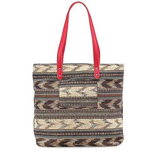 TAMARIS SOLE Damen Handtasche, Shopping Bag, Shopper, 36x38x13 cm (B x H x T), 2 Farben: braun comb. oder multicolor braun comb