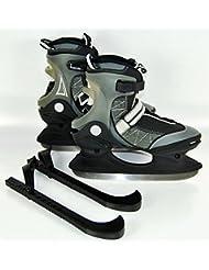 Patines schlitt Zapatillas de correr Hielo para hockey sobre hielo orejeras Bolsa de Patines, color negro / plata, tamaño 41