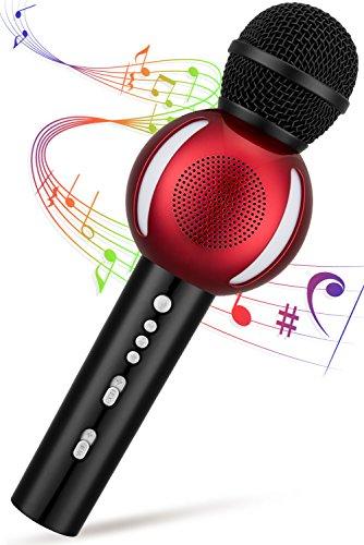 Drahtloses Mikrofon, karaoke Mikrofon bluetooth Fnova süßes Design Mikrofon Lautsprecher Musik Aufnahmefunktion 3 in 1 für Party,KTV,Outdoor Aktivität kompatibel mit Android/IOS, Dynamische Mikrofone