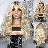 Rungao 70cm Femme Perruque Blond platine longue bouclée Wave Perruque haute température Cheveux synthétiques fête Cosplay