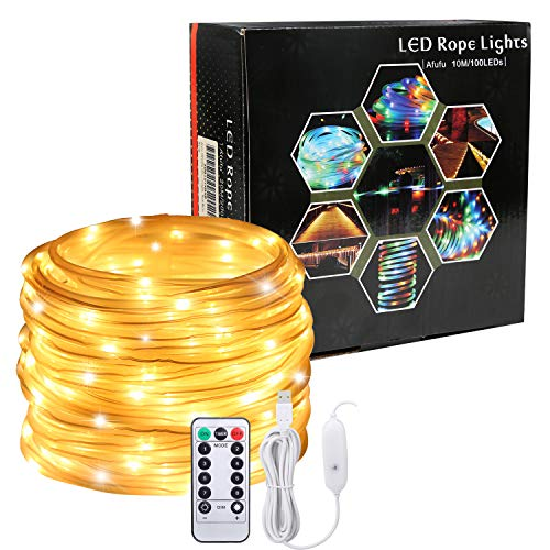 LED Lichtschlauch als Weihnachtsdeko-Afufu 13M 136er Lichterschlauch Warmweiß-Lichterkette Innen und Außen-Lichterkette USB-3M Stromkabel-Wasserdicht IP65-8 Modi Fernbedienbar Weihnachtsbeleuchtung