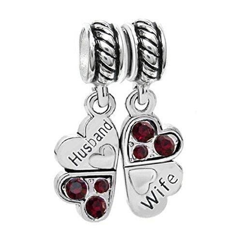 Queenberry ciondoli con scritta husband & wife, argento sterling, cuore innamorato, quadrifoglio, in cristallo, colore: rosso, ciondolo per bracciale pandora