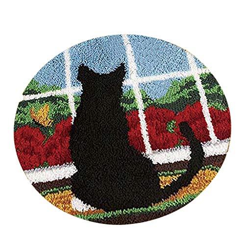 Baoblaze Knüpfteppich Formteppich für Kinder und Erwachsene zum Selber Knüpfen Teppich, Latch Hook Kit - Schwarze Katze