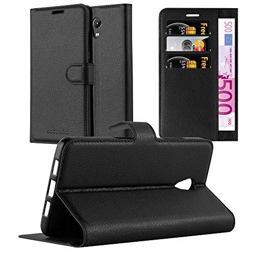 Cadorabo Hülle für Lenovo P2 - Hülle in Phantom SCHWARZ – Handyhülle mit Kartenfach und Standfunktion - Case Cover Schutzhülle Etui Tasche Book Klapp Style