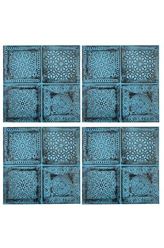 Dekorationen Schlafzimmer Marokkanische (4er Set Orientalisches Wandbild Wanddeko Sahra-1- 30cm aus Metall | Orientalische Vintage Wanddekoration Für Wohnzimmer, Schlafzimmer oder Küche | marokkanisches Fliesen Design als Dekoration)