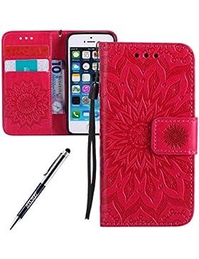 Custodia iPhone 5S, iPhone 5 Cover, iPhone 5S/5/SE Custodia Cover, JAWSEU Libro Disegno PU Leather Wallet [Shock-Absorption...