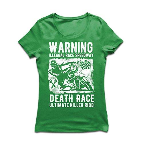Frauen T-Shirt Todesrennen - ultimative Killerfahrt, Motorradrennen, Klassiker, Vintage, Retro-Schädel-Biker, Motorrad (Small Grün Mehrfarben)