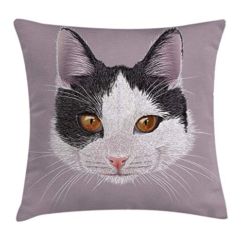 Jolly2T Animal Throw Pillow Cushion Cover by, Cute Cat Kitty Portrait Young Domestic with Funny Whiskers Pet Humor Graphic, Decorative Square Accent Pillow Case, 18 X18 Inches, Lilac Black White
