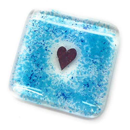 Untersetzer aus verschmolzenem Glas, Herzform, handgefertigt in Großbritannien, perfektes Geschenk für Weihnachten, Geburtstag, Hochzeit, neues Zuhause, Blau/Türkis