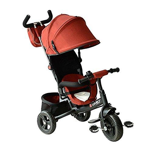Tricycle enfants évolutif poussette canne parentale et pare-soleil pliable amovible sacoche et...