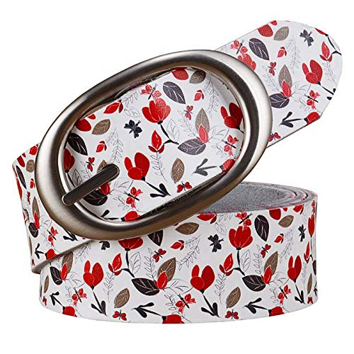 PmseK Gürtel Damen Herren Genuine Leather Belts For Women High Quality Printing Plaid Wide Belt Woman Pin Buckle Female Strap Second Cowskin RedLeaves 110cm