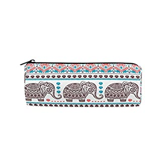 ALAZA – Estuche de lápices de elefante étnico indio con cremallera, diseño vintage