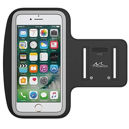 Moko bracciale sportivo per iphone x/iphone 8 plus/samsung galaxy s9 plus/s8 plus - fascia da braccio per corsa e palestra, con slot portachiavi, resistente a sudore, nero