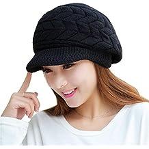 Kfnire sombreros de invierno para las mujeres las niñas de lana caliente de punto de esquí ski cráneo con visera (negro)