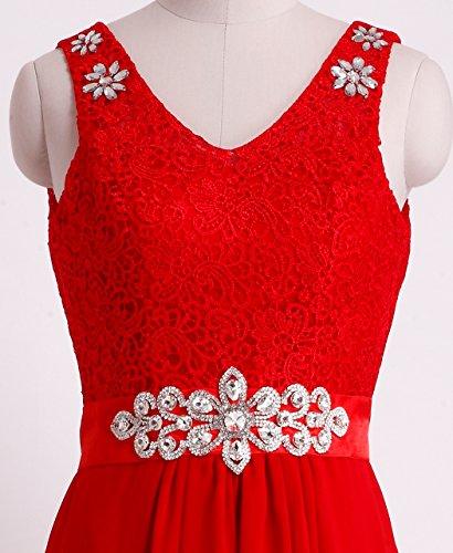 Fashion plaza dentelle & tulle avec cristal ballabend d0262 de soirée mariage - Rouge