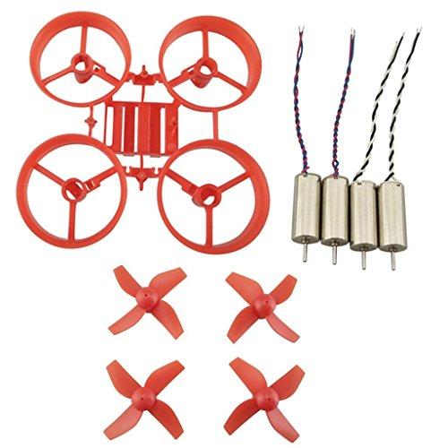 Fytoo 1pcs RC Quadcopter Rack Protector de Marco de Hélice y 4pcs Hélice CW CCW Propulsores y 4pcs Motor para JJRC H36 EACHINE E010 Quadcopter (Rojo)