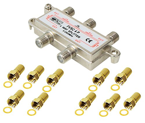 4-fach Verteiler/Splitter inkl. 10 F Stecker; für Sat, Kabel TV, DVB T und UKW; HDTV; Metall-Gussgehäuse