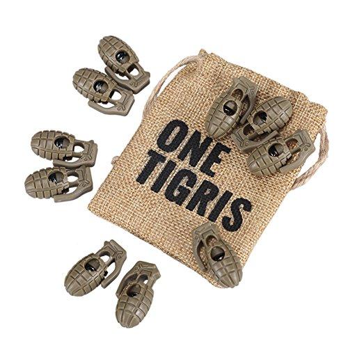 OneTigris 10 Stück Kordelstopper Mini Granate Schnürsenkel Schnalle Kunststoff Schnur Lock für Sport (Khaki)