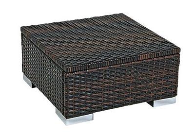 Hocker Beistelltisch SORRENTO 50x50cm, Stahl + Polyrattan braun