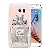 Finoo Samsung Galaxy S7 Edge Silber Glitzer Bling Bling Handyhülle Motiv - Rundum Silikon Schutzhülle + Muster - Weicher TPU Bumper Case Cover -Parfüm Cutie