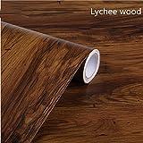 24 InchX9,8 Ft Legno Tattile Carta Di Contatto Autoadesivo Real Wood Tactile (Color : Lychee wood)