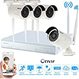 KKmoon CCTV Cameras System 4CH NVR CCTV Security System; 4Channel WiFi NVR Network Video Recorder with 4x Super HD 1.0MP Outdoor Cameras 720P Wireless