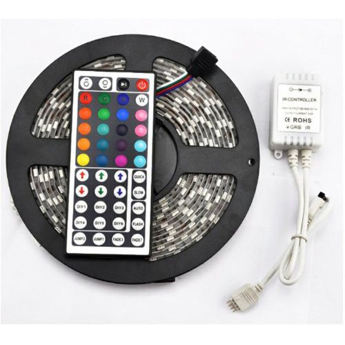 SODIAL(R) Impermeable a distancia 300 LED los 5M 5050 SMD RGB de tira flexible de luz de lampara + 44Key IR