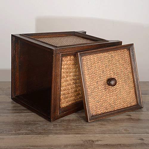 HUAIX Hochwertige Vintage Rattan Holz Mülleimer Familie Wohnzimmer Küche Aufbewahrungsbox Mülleimer (Holz-küche-mülleimer)