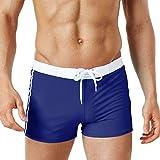 Ai.Moichien Herren-Board-Shorts aus massivem Leder Swim Trunk Running Gym Aktive Shorts Marineblau L