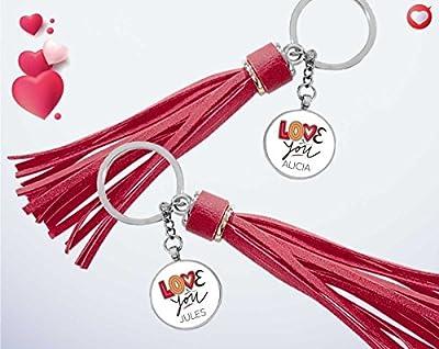 Cadeau Saint Valentin - Duo porte-clés personnalisés avec les prénoms de votre choix - Cadeau saint valentin