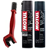 #2: Motul Combo of C2 Chain Lube and C1 Chain Clean (400 ml) with GrandPitstop Bike Chain Cleaning Brush Red