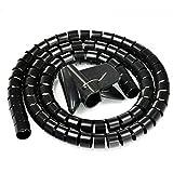 JZK 1.5mt Guaina copricavo tubo a spirale pieghevole organizzatore porta cavi fili canalina passacavi proteggi cavi elettrici PC TV nero