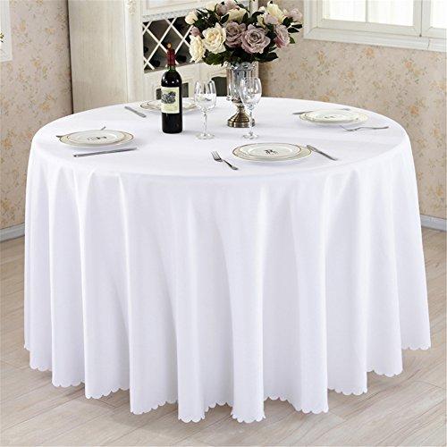 Nappe ronde / rectangulaire épaisse en polyester pour mariage, restaurant, fête - Disponibles en plusieurs couleurs et tailles, Coton mélangé, blanc, 35\\