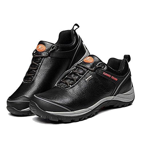 Xiang Guan Homme Low-top Cuir Imperméable Outdoor Sport Chaussures de Camping Randonnée Trail Trekking Walking Sneaker Noir