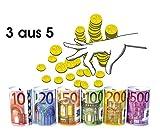 Schnäppchenladen24 Euro SPARDOSE 3er Set Blech Nicht zu öffnen Dose Sparen Blechdose