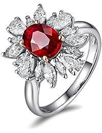 Epinki 18k Oro Anillos para Mujer Flores Anillo de Diamante Anillo Compromiso con Blanco Rojo Diamante