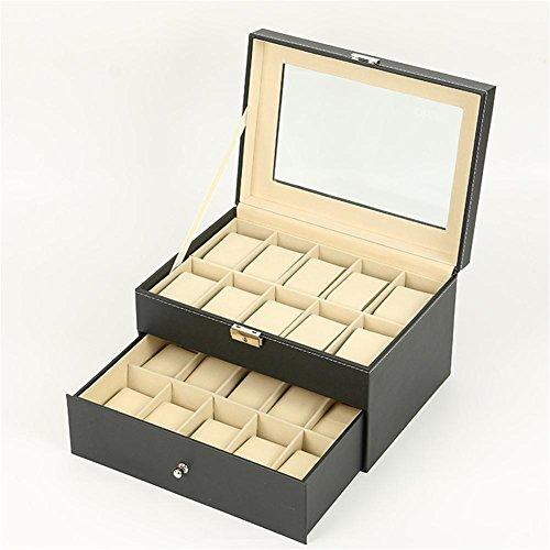 SHISHANG 20 Slot Watch Box abschließbar-Zeeshy schwarz Pu Leder & Organizer Vitrine Schmuck Box Glas Top für Männer & Frauen als Geschenke Schmuck Fall (Glas-dome-vitrine)
