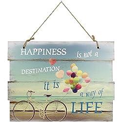 Cartel de Madera Cartel con Cordel para Colgar Decorativa, diseño de Imagen Vintage MDF 30X 40Cm, Madera, Happiness, 30 x 40 cm